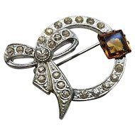 Vintage pave crystals, ornate brooch pin, Amber, silvertone