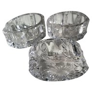 """Diamond Ridge"" pattern glass open salts, Duncan, (3)"