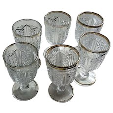 Pattern glass wine stems / goblets, set of 6, Eapg