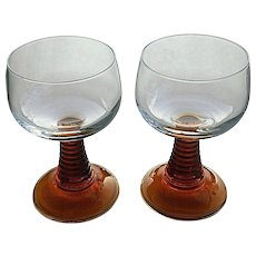 Retro Amber stem cordial / wine glasses, France barware