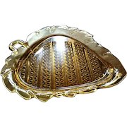 """Amber eapg, Bryce #1000, """"Diamond Quilted"""" leaf shaped plate"""