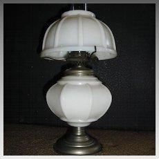 Miniature Kerosene Oil Lamp - Ribbed Milk Glass