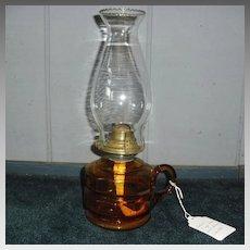 Amber Glass Kerosene Oil Finger Lamp