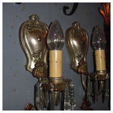 Neoclassical Wall Sconces with Crystals