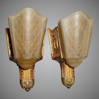 Art Deco Slip Shade Wall Sconce Lights - Moe Bridges - 2 pairs available