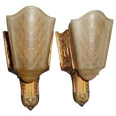 Art Deco Slip Shade Wall Sconce Lights - Moe Bridges - 2 pairs available
