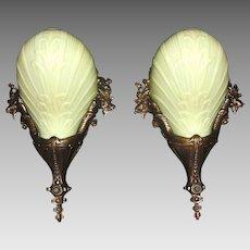 Cast Bronze Art Deco Slip Shade Sconces - Midwest Lighting - 2 pair available