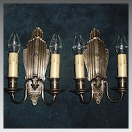 Elegant Cast Brass Wall Sconces