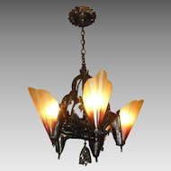 Art Deco Bronze 5 Light Slip Shade Chandelier - Midwest Lighting