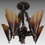 Art Deco Cast Bronze 5 Light Slip Shade Fixture
