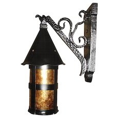 Tudor Iron with Mica Porch Light Fixture