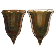 Art Deco Slip Shade Wall Sconces - Crackle Glass Shades