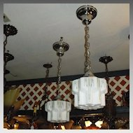 Art Deco Decorated Stylized Pendant Light - 2 available