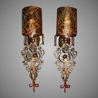 Spanish Revival Wall Sconces w Mica Shields - 4 pair available