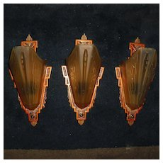 Markel Art Deco Slip Shade Wall Sconces - 2 pair available