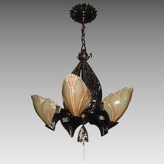 Midwest Lighting Cast Bronze Art Deco Slip Shade Chandelier