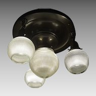 Transitional 4 Light Ceiling Fixture w Holophane Glass Shades