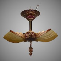 Art Deco 2 Light Slip Shade Ceiling Fixture - Markel - 2 available