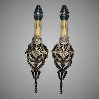 Tudor Cast Brass Single Candle Wall Sconces