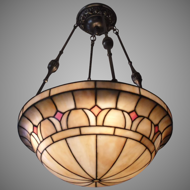 Victorian 4 Light Leaded Gl Lighting Bowl Chandelier