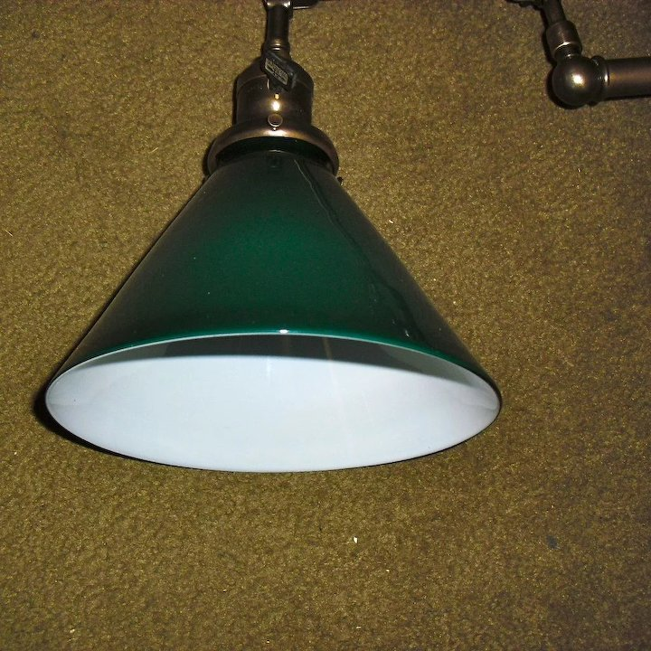 Faries Adjustable Swing Arm Wall Light w Green Cased Shade - 2 ...