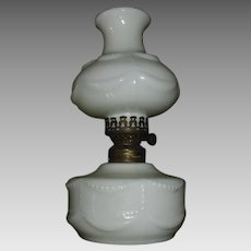 Beaded Opalescent Milk Glass Miniature Kerosene Oil Lamp