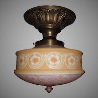 Brass Ceiling Light Fixture w Bellova Etched Glass Shade