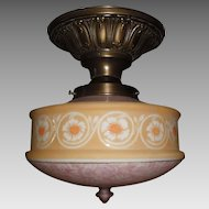 Brass Ceiling Light Fixture w Bellova Etched Glass Shade