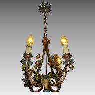Spanish Revival Iron & Bronze 4 Light Chandelier