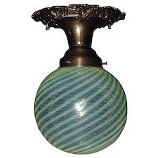 Victorian Fancy Bronze Ceiling Light w Yellow Opalescent Swirl Glass Shade