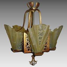 Lightolier Art Deco Slip Shade 5 Light Chandelier