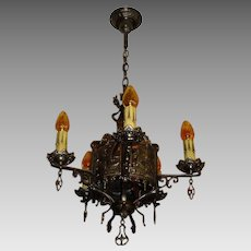 Tudor Cast Bronze 5 Light Chandelier w Ships
