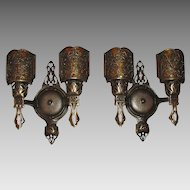 Decorative Cast Bronze Two Light Wall Sconces w Mica Shields