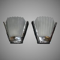 Art Deco Machine Age Slip Shade Wall Sconces