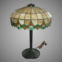Leaded Glass Table Lamp w Original Green Verde Finish
