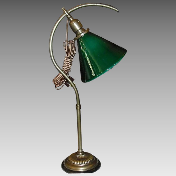 Faries Early Adjule Question Mark Desk Lamp W Green Cased Cone Shade
