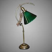 Faries Early Adjustable Question Mark Desk Lamp w Green Cased Cone Shade