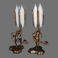 Pair of Art Deco Dancing Lady Boudoir Table Lamps