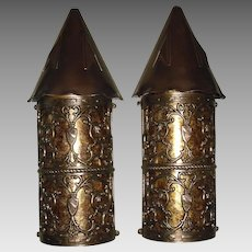 Large Tudor Bronze and Copper Porch Lights w Mica Shields