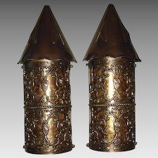Large Tudor Bronze and Copper Porch Lights w Mica Shields