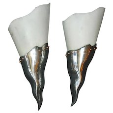 Large French Mid Century Modern Wall Lights / Sconces