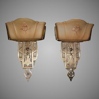Markel Cast Bronze Art Deco Slip Shade Wall Sconces - 2 pair available