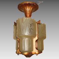 Lightolier Art Deco Slip Shade 3 Shade Ceiling Fixture