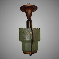 Lightolier Art Deco Slip Shade 2 Shade Ceiling Light