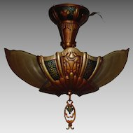 Lincoln 2 Light Art Deco Slip Shade Ceiling Fixture
