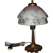 Bellova Colored Acid Etched Boudoir Table Lamp
