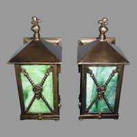 Tudor Cast Bronze Porch Lights with Green Slag Glass Panels