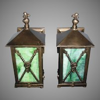 Tudor Cast Bronze Porch Lights with Green Slag Glass Panels