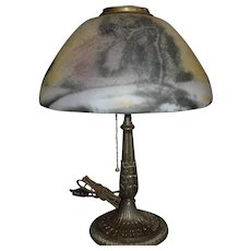 Pittsburgh Reverse Painted Ice Chip Table Lamp - Midsize Winter Scene