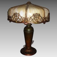 Large Miller Bent Panel Slag Glass Table Lamp